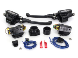 Handlebar Control Kit with Black Contrast Cut Finish. Fits Models with Hydraulic Clutch & Single Disc Rotor.