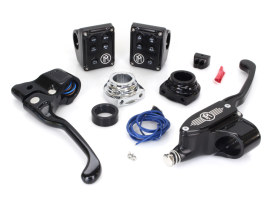 Handlebar Control Kit with Black Contrast Cut Finish. Fits 2012up Models with Clutch Cable & Single Disc Rotor.