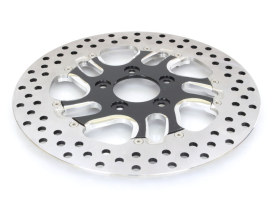 11-1/2in. Left Hand Front Rival Disc Rotor - Black Contrast Cut Platinum. Fits H-D 1984up with 11-1/2in. Disc Rotor(s).