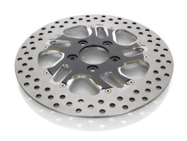 11-1/2in. Right Hand Front Rival Disc Rotor - Black Contrast Cut Platinum. Fits H-D 1984up with 11-1/2in. Disc Rotor(s).