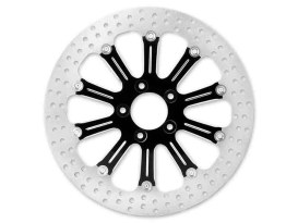 11.8in. Left Hand Front & Right Hand Front Revel Disc Rotor - Black Contrast Cut Platinum. Fits Touring 2008up, V-Rod 2006up & Dyna 2006up.