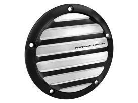 Performance Machine Drive Derby Cover with Black Contrast Cut Platinum Finish. Fits Softail 2000-2018, Dyna 1999-2017 & Touring 1999-2015 Models.
