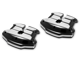 Scallop Rocker Covers - Black Contrast Cut Platinum. Fits Touring 2017up & Softail 2018up.