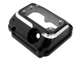 Clarity Transmission Top Cover - Black Contrast Cut. Fits 5Spd Twin Cam 2000-2006.
