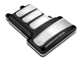 Scallop Transmission Top Cover - Black Contrast Cut Platinum. Fits 6Spd Twin Cam 2006-2017.