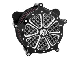 RSD Speed 7 Air Filter Assembly with Black Contrast Cut Platinum Finish. Fits Sportster 1991up.