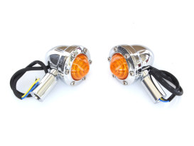 Tracker LED Turn Signal with Amber Lens - Chrome.