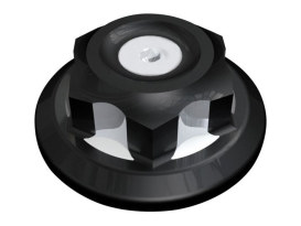 Steering Stem Nut - Black Contrast Cut. Fits FX Softail 1993up, Dyna Wide Glide 1993up, Dyna 2006up & FXWG 1980up.