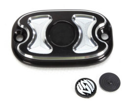 Cafe Rear Master Cylinder Cap - Black Contrast Cut. Fits Softail 2006up, Dyna 2006up & FLH 2005-2007.