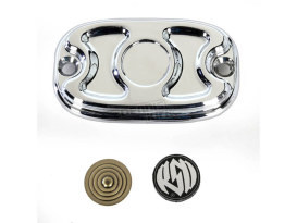 Roland Sands Design Cafe Rear Master Cylinder Cap with Chrome Finish. Fits Softail 2006up, Dyna 2006up & FLH 2005-2007 Models.