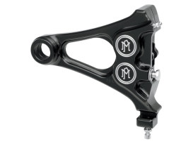 Right Hand Rear Integrated 4 Piston Caliper & Mounting Bracket with Black Contrast Cut Finish. Fits Softail 2008-2017 & New Phatail Kits with 25mm Axle.