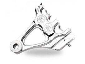 Right Hand Rear Integrated 4 Piston Caliper & Mounting Bracket - Chrome. Fits Softail 1987-1999 with 1in. Rear Axle.