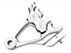 Right Hand Rear Integrated 4 Piston Caliper & Mounting Bracket - Chrome. Fits Softail 1987-1999 with 3/4in. Rear Axle.