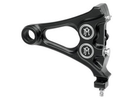 Right Hand Rear Integrated 4 Piston Caliper & Mounting Bracket with Black Contrast Cut Finish. Fits Softail 2006-2007 with 3/4