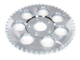 49 Teeth, 6mm Offset Rear Chain Sprocket - Silver Zinc.  Fits Big Twin 1973-1986 with 4 Speed Transmission & Sportster 1979-1981.