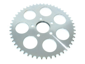 50 Teeth, Flat Steel Rear Chain Sprocket with Silver Zinc Finish. Fits all Big Twin 1973up Wheels & all Sportster 1982up Wheels.