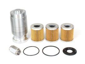 Spin On Oil Filter Kit with Aluminium Finish. Fits Big Twin & Sportster 1984up Models.