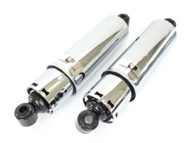 412 Series, 12in. Rear Shock Absorbers with Full Covers - Chrome. Fits Big Twin 1973-1986 with 4 Speed Transmission.