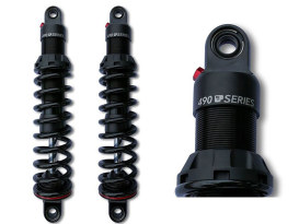 490 Series, 12in. Heavy Duty Spring Rate Rear Shock Absorbers - Black. Fits Touring 1980up.