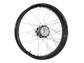 40 Spoke, 21in. x 2.15in. Wide, Crosslaced Wheel  - Black Rim & Polished Stainless Steel Spokes & Nipples. Fits Narrow Glide Front Ends.