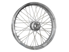 40 Spoke, 23in. x 3.50in. Wide, Crosslaced Wheel - Chrome Rim with Polished Stainless Steel Spokes & Nipples.