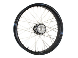 40 Spoke, 21in. x 3.50in. Wide, Crosslaced Wheel - Black Rim & Polished Stainless Steel Spokes & Nipples.