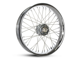 40 Spoke, 21in. x 3.50in. Wide, Crosslaced Wheel - Chrome Soft Lip Rim with Polished Stainless Steel Spokes & Nipples.