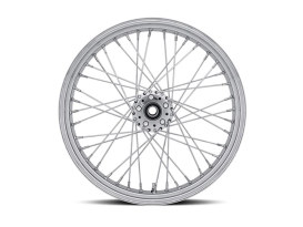40 Spoke, 21in. x 3.50in. Wide, Crosslaced Wheel - Chrome Rim with Polished Stainless Steel Spokes & Nipples.