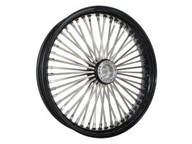 50 Spoke, 21in. x 3.50in. Wide, Fat Daddy Wheel - Black Rim & Polished Stainless Steel Spokes & Nipples.