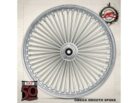 50 Spoke, 21in. x 3.50in. Wide, Fat Daddy Wheel - Chrome Rim with Polished Stainless Steel Spokes & Nipples.