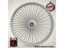 50 Spoke, 16in. x 3.50in. Wide, Fat Daddy Wheel - Chrome Rim with Polished Stainless Steel Spokes & Nipples.
