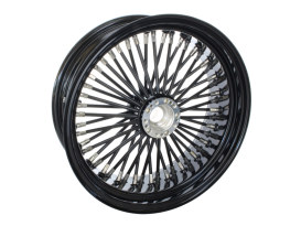 50 Spoke, 17in. x 6.25in. Wide, Fat Daddy Wheel - Gloss Black Rim & Spokes with Polished Stainless Steel Nipples.</P><P>