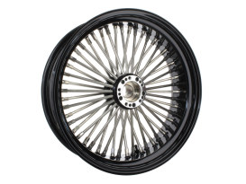 50 Spoke, 18in. x 5.50in. Wide, Fat Daddy Wheel - Black Rim & Polished Stainless Steel Spokes & Nipples.