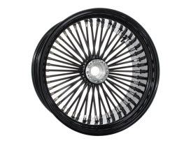 50 Spoke, 18in. x 8.50in. Wide, Fat Daddy Wheel - Gloss Black Rim & Spokes with Polished Stainless Steel Nipples.