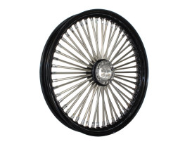 50 Spoke, 19in. x 2.15in. Wide, Fat Daddy Wheel - Black Rim & Polished Stainless Steel Spokes & Nipples. Fits Narrow Glide Front Ends.