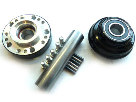 Front Wheel Hub with Black Finish. Fits Ride Wright Spoke Wheel on XL 1987-2007, Dyna 1991-2005 & FXR 1987-1994 Models with 39mm Fork Tubes, Narrow Glide Front End, 3/4
