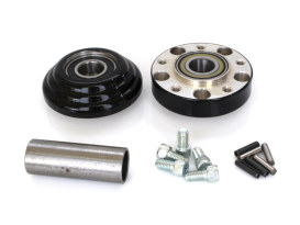 Front Wheel Hub - Black. Fits Ride Wright Spoke Wheel on Sportster 2014up with ABS & Single Disc Rotor.