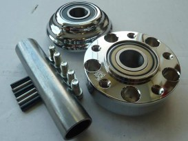 Front Wheel Hub - Chrome. Fits Ride Wright Spoke Wheel on Sportster 2014up with ABS & Single Disc Rotor.