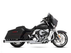 Slimline Dual Exhaust  - Chrome with Black End Caps. Fits Touring 2009-2016.