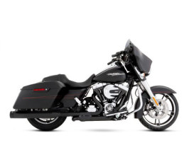 Slimline Dual Exhaust  - Black with Black End Caps. Fits Touring 2009-2016.