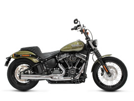 2-into-1 Exhaust - Chrome with Black End Cap. Fits Deluxe, Softail Slim, Street Bob, Low Rider & Fat Bob 2018up & Standard 2020up.