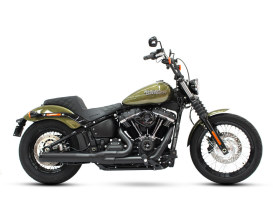2-into-1 Exhaust with Black Finish & Black End Cap. Fits Deluxe, Softail Slim, Street Bob, Low Rider, Fat Bob 2018up Models.