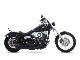 2-into-2 Exhaust - Black with Black End Caps. Fits Dyna 2006-2017.