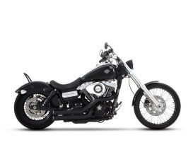 Cross Back Exhaust - Black with Black End Caps. Fits Dyna 2006-2017.