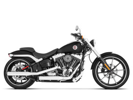 3in. Slip-On Mufflers - Chrome with Black End Caps. Fits Softail Breakout 2013-2017, Heritage Softail Classic 2007-2017, FXST 2007-2017 & Rocker 2008-2011.