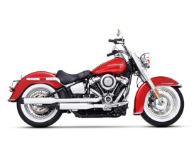 3-1/2in. Slip-On Mufflers - Chrome with Black End Caps. Fits Deluxe & Heritage Classic 2018up.