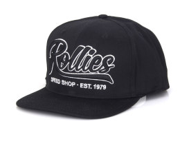 Rollies Script Snapback Cap, Black. One size fits all.