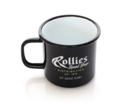 Rollies Speed Shop Enamel Mug.