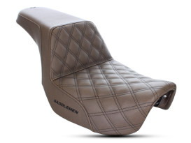 Brown Step-Up LS Dual Seat with Black Double Diamond Lattice Stitch. Fits Dyna 2006-2017.
