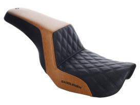Custom Black & Brown Step-Up LS Dual Seat with Black Double Diamond Lattice Stitch. Fits Dyna 2006-2017.